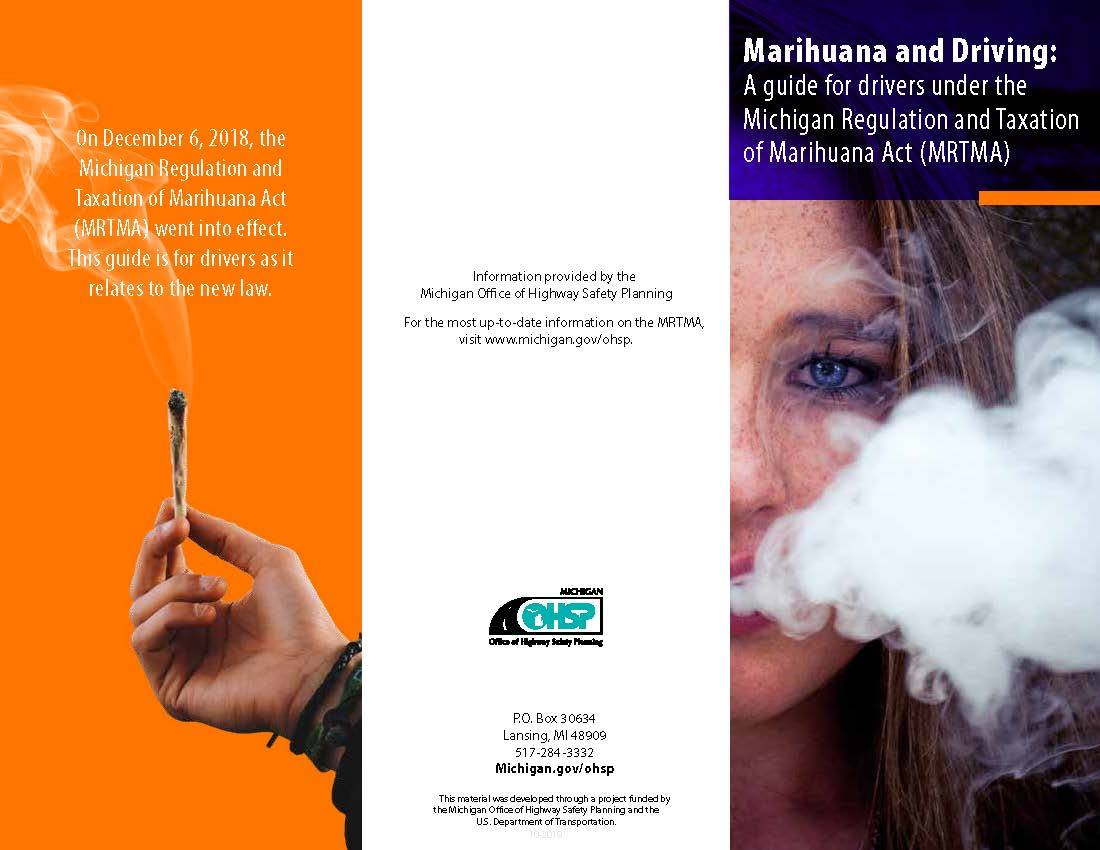 Photo of Michigan Office of Highway Safety Planning brochure on marijuana and driving